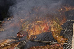 Plein rôti de porc photographie stock