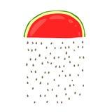 Une pluie des graines des tranches de pastèque rouge Photographie stock libre de droits