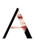 Une police créative de mode de fille de maquillage de beauté de lettre Images stock