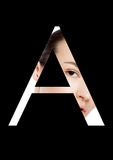 Une police créative de mode de fille de maquillage de beauté de lettre Photos stock