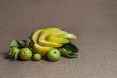 Une pomme bouclée de coupe et la branche avec de petites pommes non mûres vertes Images libres de droits