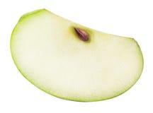 Une pomme de coupe de vert d'isolement sur le fond blanc Image stock