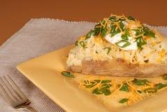 Une pomme de terre deux fois cuite au four avec les scallions, le fromage et la crème aigre photo stock