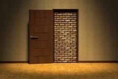 Une porte a bloqué par un mur de briques illustration de vecteur