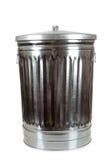 Une poubelle argentée sur le blanc Photographie stock