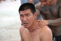 Une prière avant aube - Somluck Muay Thai Champion Images libres de droits