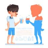 Une prise d'homme par verre dans sa main, prise d'eau quotidienne, l'information de vecteur Images libres de droits