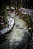 Une promenade d'hiver au-dessus d'une rivière congelée Photographie stock libre de droits