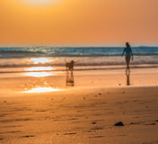 Une promenade de coucher du soleil Images libres de droits