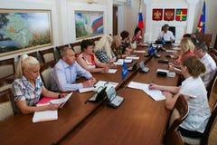 Une réunion du conseil régional de la partie de Russie unie dans Krasnodar images libres de droits