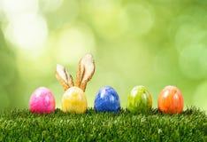 Une rangée de cinq oeufs de pâques colorés sur l'herbe verte avec le lapin ea Images libres de droits