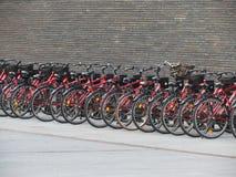 Une rangée des bicyclettes rouges à louer à Copenhague photo libre de droits