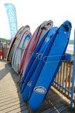 Une rangée des planches de surf colorées Photo libre de droits