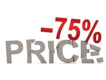 Une remise de 75 % pour le prix criqué de décalques Images stock