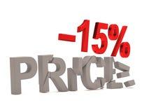 Une remise de 15 % pour le prix criqué de décalques Photos libres de droits