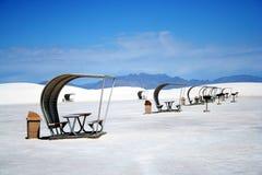 Une région de pique-nique en sables blancs Photo stock