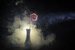 Une rose de fanage signifie l'amour perdu, divorce, ou de mauvaises relations, morts ont monté sur le fond foncé Images stock