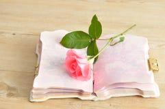 Une rose simple de rose dans un carnet ouvert Photo libre de droits