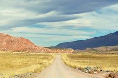 Une route au désert Photos stock