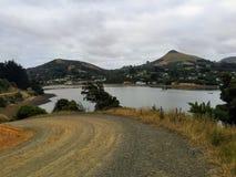 Une route d'enroulement menant vers le bas au petit village de Portobello sur la péninsule d'Otago photos stock