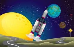 Une route dans l'outerspace avec un avion Images libres de droits