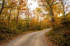 Une route de gravier traverse des couleurs d'automne images libres de droits