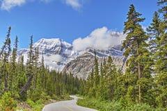 Une route de montagne en Jasper National Park, Alberta, Canada Photo libre de droits