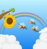 Une ruche et les trois abeilles Photo libre de droits