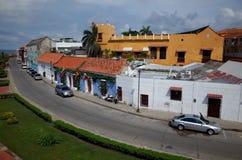 Une rue au bord de Carthagène Image libre de droits