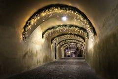 Une rue de revue du projet dans la ville médiévale du centre de Brasov, Roumanie 2 décembre 2015 avec des décorations de lumières Image libre de droits