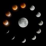 Une série d'éclipse lunaire totale et de lune Photo stock