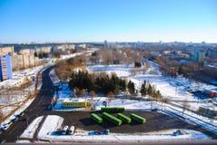 Une série de panoramas de Minsk des toits des bâtiments Photographie stock libre de droits