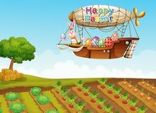 Une salutation heureuse de Pâques avec un lapin dans un avion au-dessus du fa illustration stock