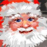 Une Santa de sourire avec une barbe dans un chapeau rouge Photographie stock libre de droits