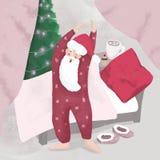 Une Santa somnolente baîllant avec Photos libres de droits