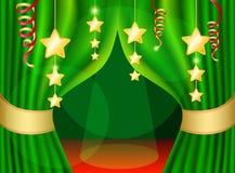 Une scène avec un rideau vert Images stock