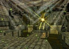 Une scène avec un temple maya d'imagination, plein des statues en pierre illustration libre de droits