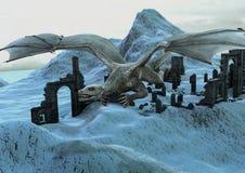 Une scène avec un vol énorme de dragon dans un château congelé de ruine illustration de vecteur