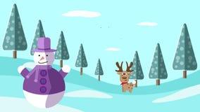 Une scène d'hiver de dessin de main avec les cerfs communs et le bonhomme de neige illustration de vecteur