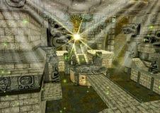 Une scène d'un temple maya d'imagination, avec un idole d'or et des statues de pierres illustration libre de droits