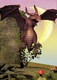 Une scène de conte de fées avec un petit vol rose de dragon, avec une lune énorme derrière elle illustration libre de droits