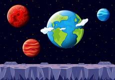 Une scène de l'espace avec la terre et toute autre planète illustration libre de droits