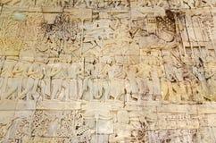 Une scène de la galerie du temple de Bayon à Angkor Thom photo libre de droits