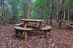 Une scène de région boisée comportant une table et des chaises images stock