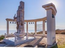 Une sculpture commémorative de l'amiral russe F f Ushakov Cap Kaliakra, Bulgarie Photos libres de droits