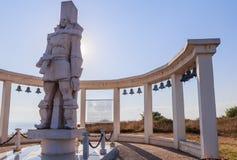 Une sculpture commémorative de l'amiral russe F f Ushakov Cap Kaliakra, Bulgarie Photographie stock