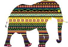 Une silhouette d'un éléphant avec la configuration Photographie stock