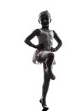 Une silhouette de danse de danseur classique de ballerine de petite fille Photos stock