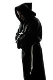 Prière de silhouette de prêtre de moine d'homme Images libres de droits