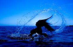 Une sirène émerge de la mer et du x28 ; 30& x29 ; Photos stock